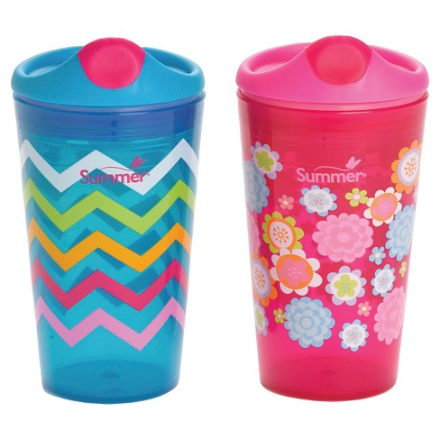 Summer Infant® Sippy Stackers™ <BR/> 10oz Sippy Cups - Zig Zags & Flowers 2-Pack - image 1 of 5