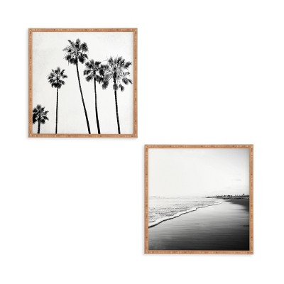 12 x12  2pc Five Palms Framed Decorative Wall Art Set White - Deny Designs