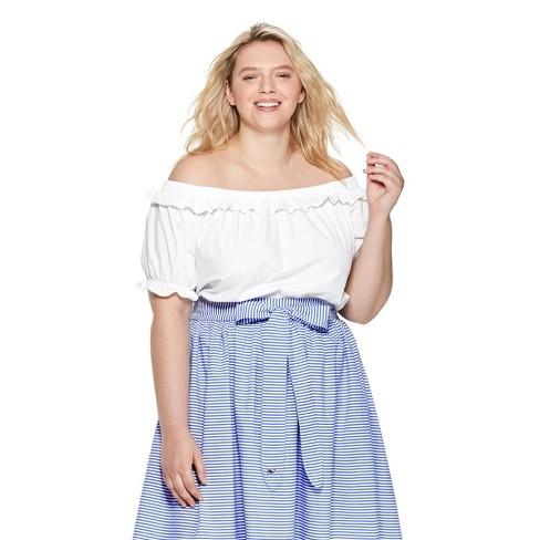 252cd551fcee47 Women s Plus Size Off the Shoulder Short Sleeve Bardot Top - White - vineyard  vines® for Target