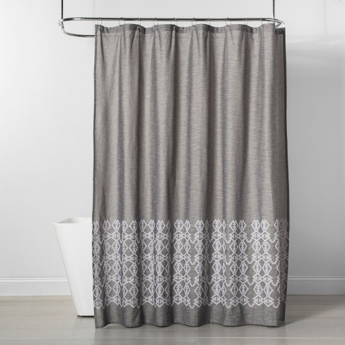 Embroidered Shower Curtain Gray