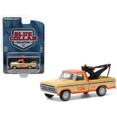 "1973 Ford F-100 Tow Truck with Tow Hook ""Dependable Tow"" Yellow and Orange ""Blue Collar Collection"" Series 7 1/64 Diecast Model Car by Greenlight"