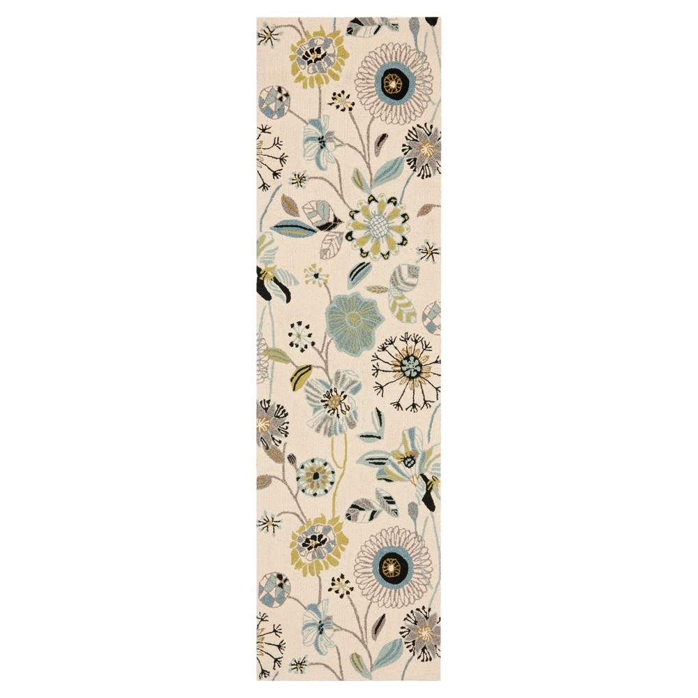 Ivory/Blue Floral Hooked Runner 2'3X6' - Safavieh