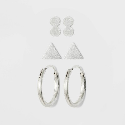 Sterling Silver Recycled Metal Triangle and Endless Hoop Earring Set 3pc - Universal Thread™ Silver