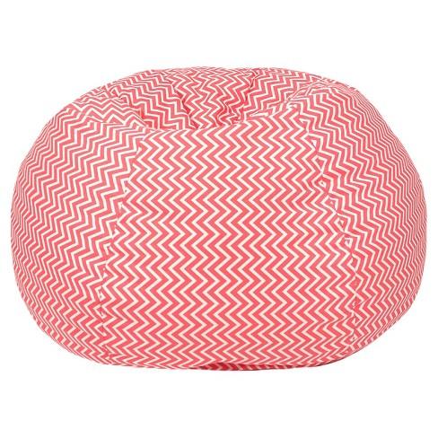 Outstanding Gold Medal Kids Cosmo Zigzag Print Bean Bag Coral Inzonedesignstudio Interior Chair Design Inzonedesignstudiocom