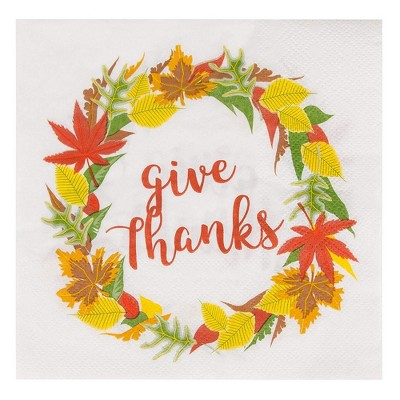 Juvale 100-Pack Floral Give Thanks White Disposable Paper Cocktail Napkins for Thanksgiving Party Supplies