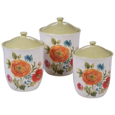 3pc Earthenware Country Fresh Canister Set - Certified International