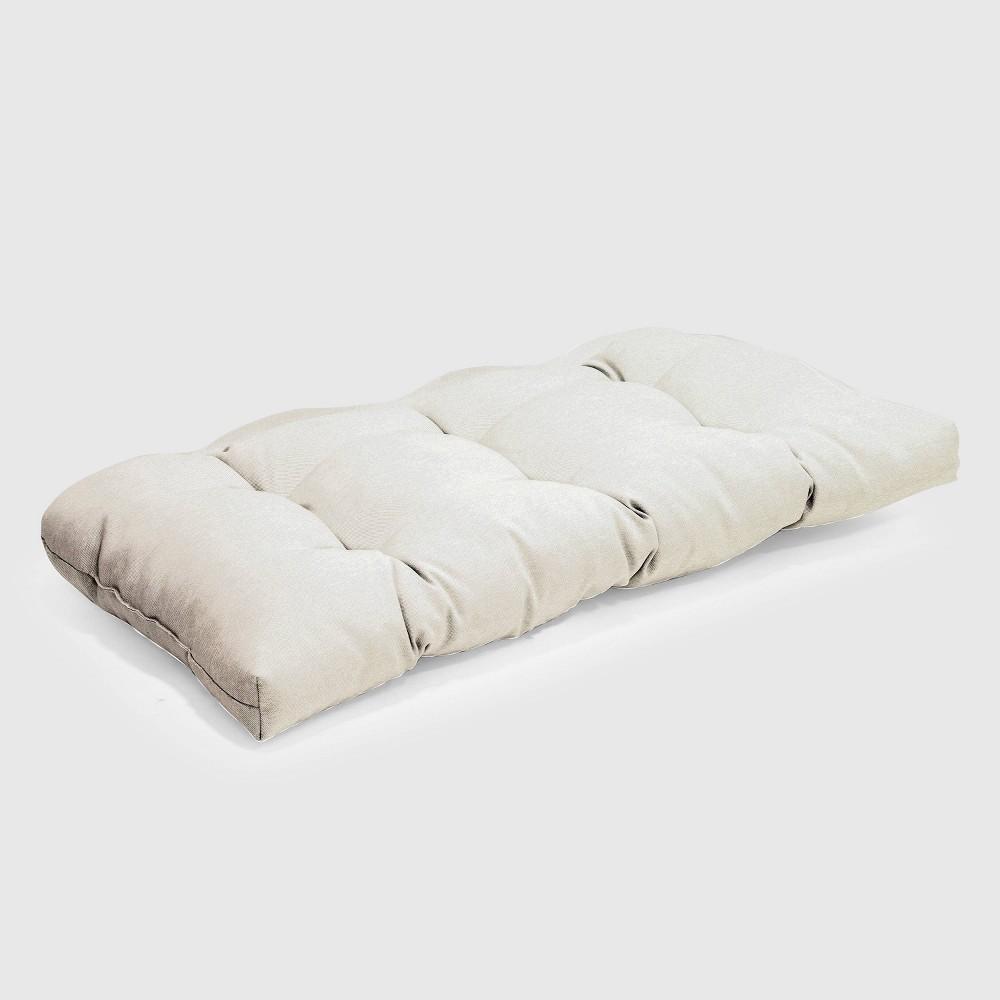 Outdoor Tufted Settee Cushion Linen - Threshold