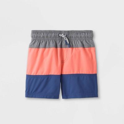 Toddler Boys' Colorblock Swim Trunks - Cat & Jack™ Gray/Pink/Navy