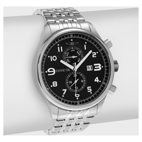 Men's Invicta Specialty 0369 Stainless Steel Chronograph Dial Link Bracelet Watch - Silver/Black - image 1 of 3