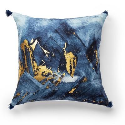 "18""x18"" Metallic Gold on Print Decorative Throw Pillow Blue - SureFit"