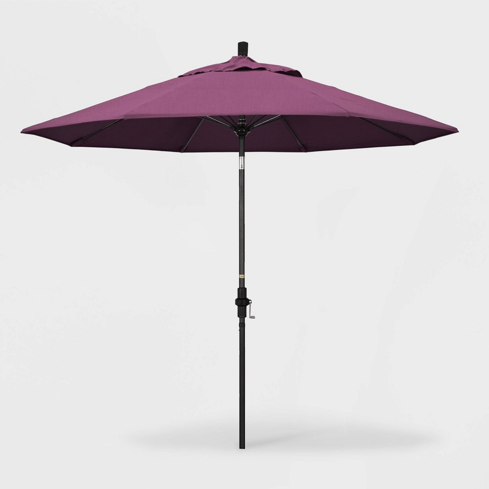 Image of 9' Sun Master Patio Umbrella Collar Tilt Crank Lift - Sunbrella Iris - California Umbrella