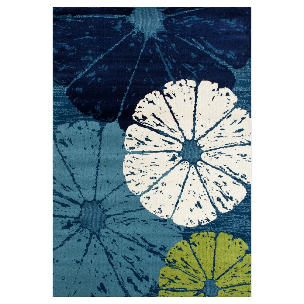 Image of Blue Abstract Woven Area Rug - (7'X9') - Art Carpet