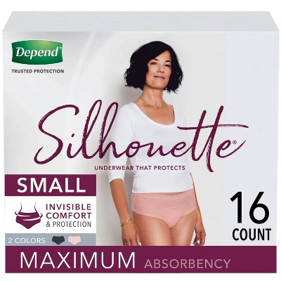 Depend Silhouette Incontinence Underwear for Women - Maximum Absorbency - Small - Pink & Black - 16ct