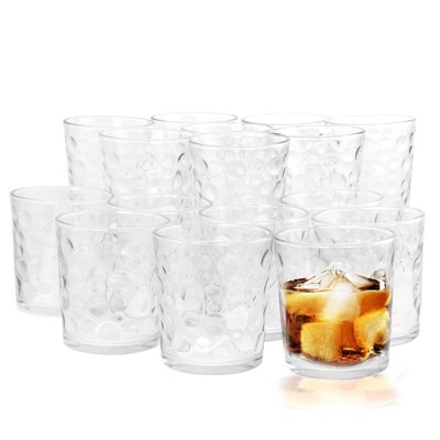 Gibson Home Great Foundations 16 Piece Tumbler and Double Old Fashioned Glass Set in Bubble Pattern