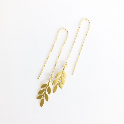 Sanctuary Project Dainty Olive Branch Threader Drop Earrings Gold