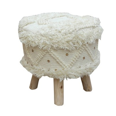 Roja Wool Boho Stool Ivory - Christopher Knight Home