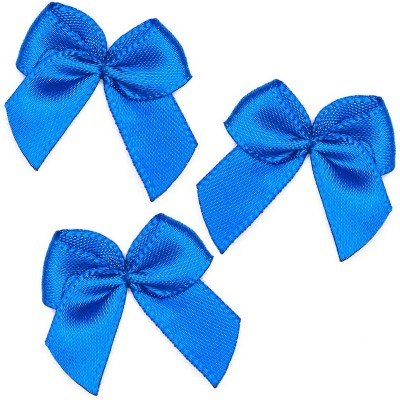 "350pcs Mini Satin Ribbon Bow Flowers with Self-Adhesive Tape for DIY Crafts, Sewing, Scrapbooking and Gift (Blue, 1.5"")"