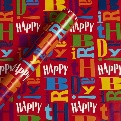 Happy Birthday Gift Wrapping Paper Red - Spritz™