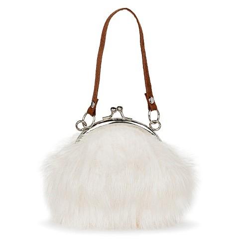 714acb8ddf Girls  Faux Fur Purse Bag Clasp Closure - White   Target