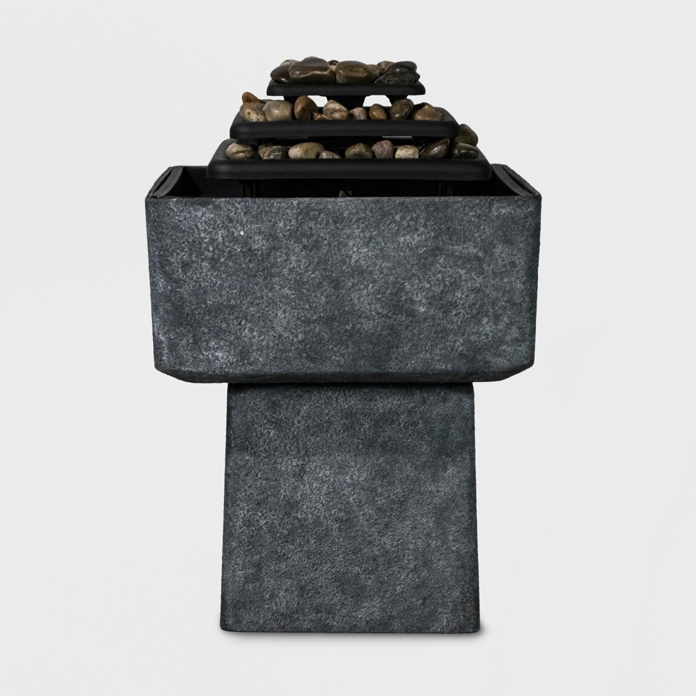 Image of 30H Light Up Textured Plastic Resin Pedestal Outdoor Fountain Slate Gray - Backyard Expressions
