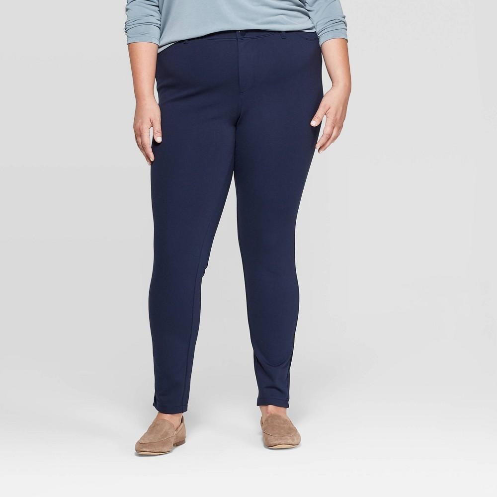 Image of Women's Plus Size 5 Pocket Ponte Pants - Ava & Viv Navy 22W, Blue