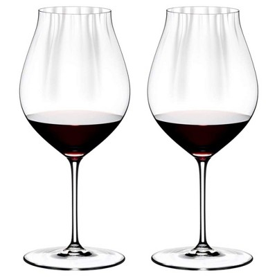 Riedel 29 Ounce Performance Pinot Noir Clear Crystal Wine Glass Set for Light Bodied Wines with Microfiber Polishing Cloth, (2 Pack)