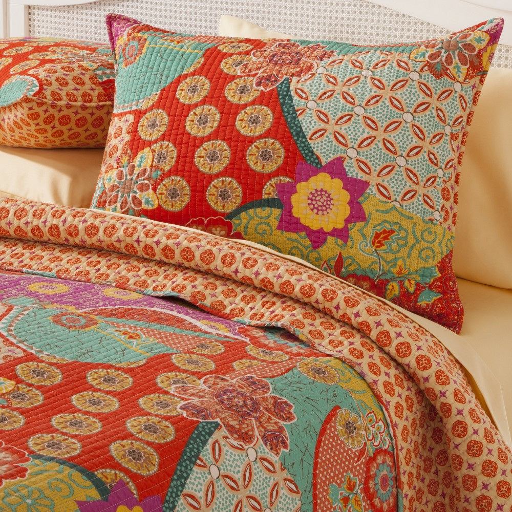 Image of Floral Print Reversible Barizanz Quilt Set 3 Piece (King) - homthreads