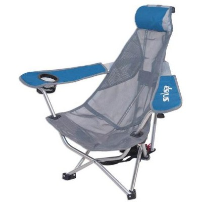 Kelsyus 80403 Mesh Folding Portable Backpack Beach Chair with Headrest and Strap, Blue and Gray (2 Pack)