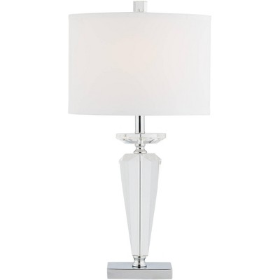 Vienna Full Spectrum Traditional Table Lamp Crystal Glass Oval Fabric Shade Living Room Bedroom Bedside Nightstand Office Family