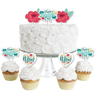 Big Dot of Happiness Colorful Floral Happy Mother's Day - Dessert Cupcake Toppers - We Love Mom Party Clear Treat Picks - Set of 24