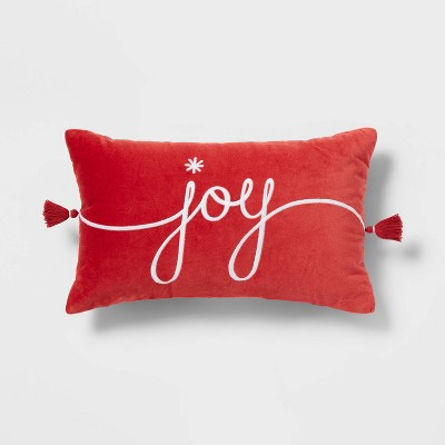 'Joy' Velvet Embroidered Lumbar Throw Pillow Red/Ivory - Threshold™