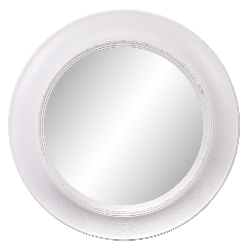 "Image of ""24""""x24"""" Rustic Round in Distressed White Decorative Wall Mirror White - Patton Wall Decor"""