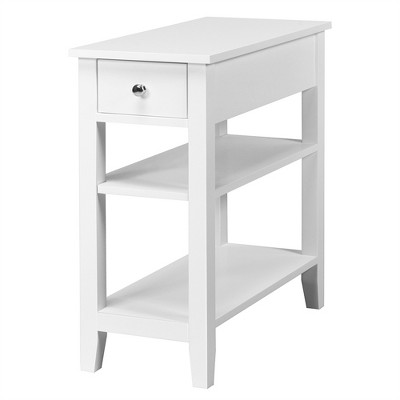 Costway 3 Tier Nightstand Bedside Table Sofa Side End Table w/Double Shelves Drawer White