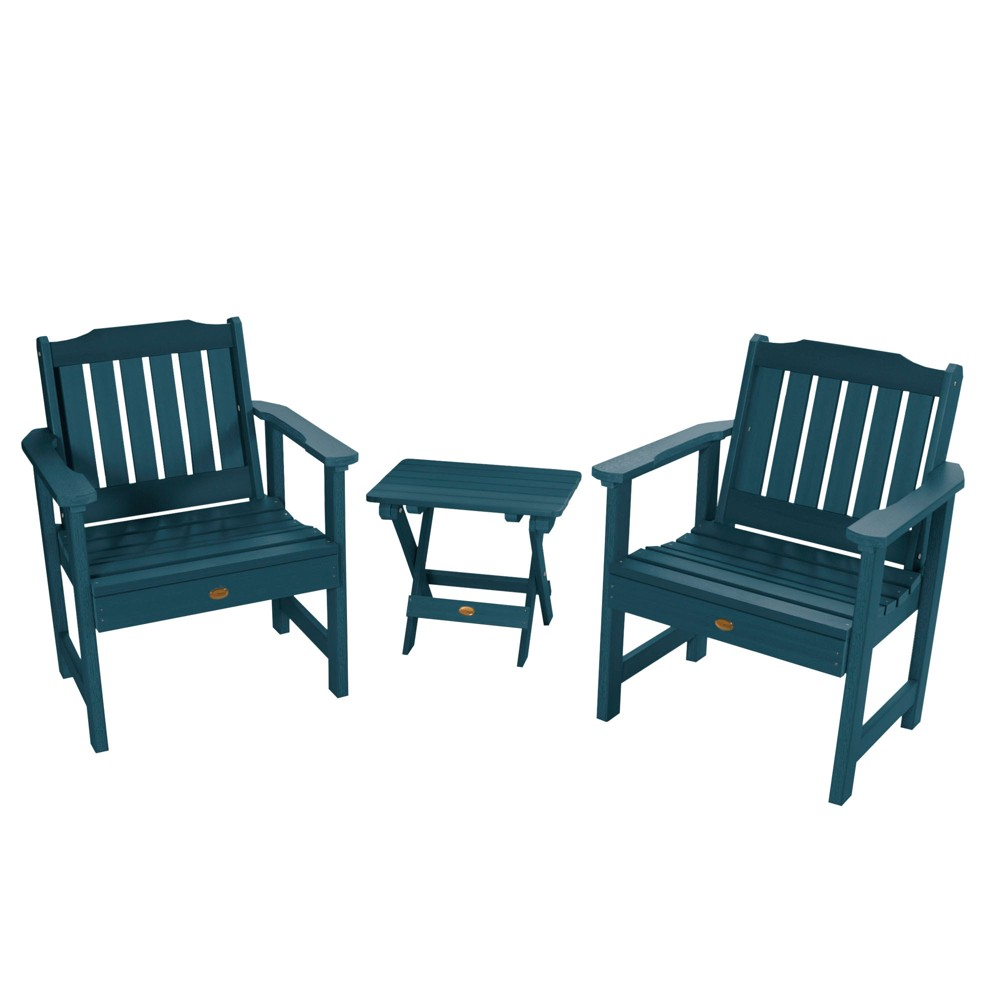 Lehigh 2pk Garden Chairs with 1 Folding Adirondack Side Table Nantucket Blue - Highwood