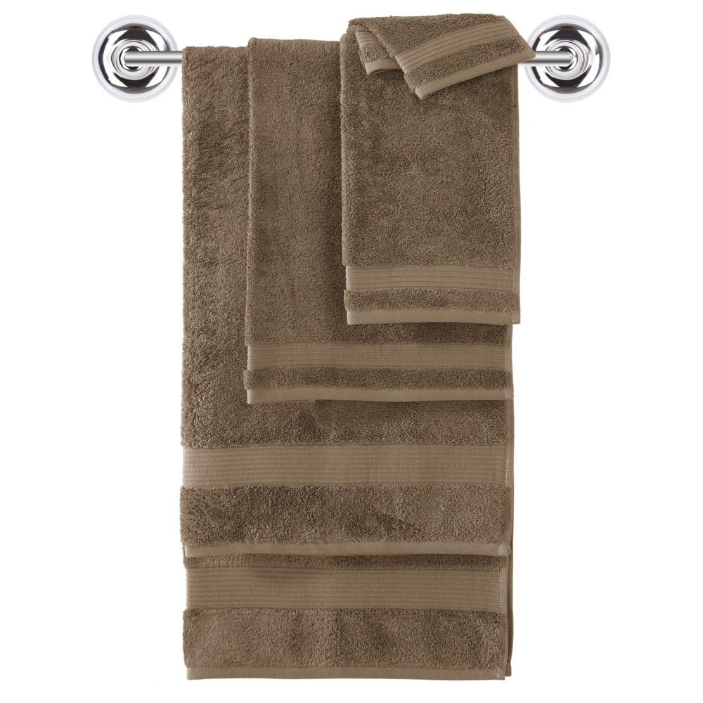 Image of 6pc Amadeus Turkish Bath Towel Set Roasted Coffee - Makroteks, Roasted Brown