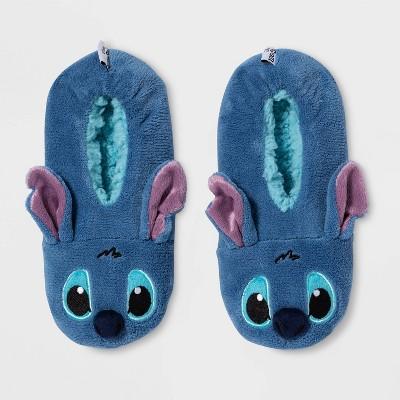 Women's Lilo and Stitch Pull-On Slipper Liner Socks - Blue M/L