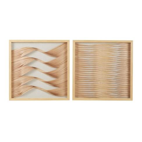 "(Set of 2) 23.5"" Square Framed Wood Ribbon Shadow Boxes Wall Art Beige/Natural - Olivia & May - image 1 of 4"