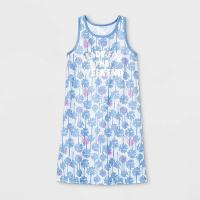 Girls' Palm Trees 'Weekend' Nightgown - Cat & Jack™ Blue