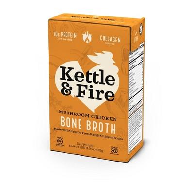 Kettle & Fire Mushroom Chicken Bone Broth - 16.9oz