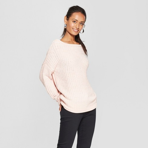 Women's Long Sleeve Chenille Low Back Pullover Sweater - Love @ First Sight (Juniors') - image 1 of 2