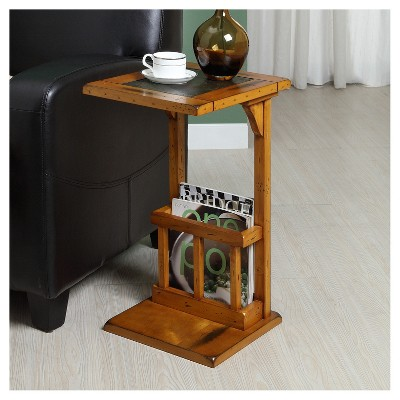 Ordinaire Dunne End Table With Slate Insert   Brown   Inspire Q : Target
