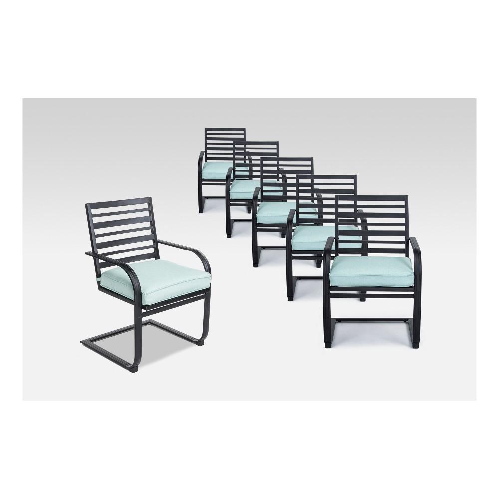 Ft. Walton 6pk Steel Patio Motion Dining Chairs - Seafoam - Project 62
