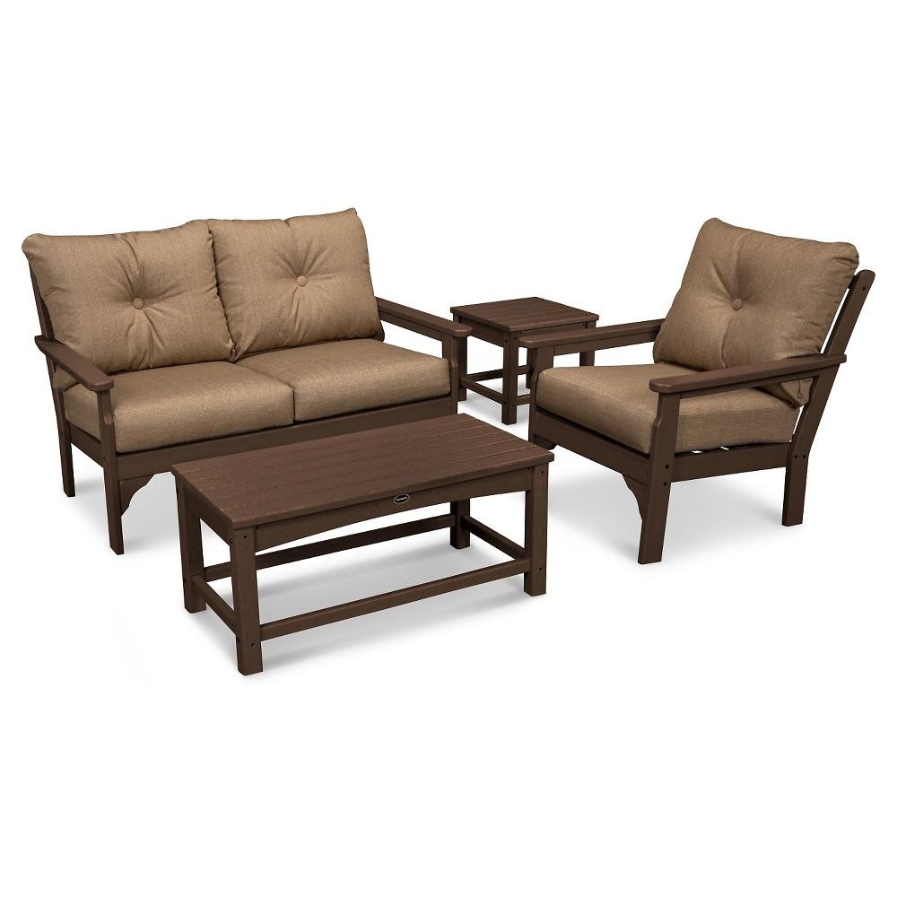 Polywood Vineyard 4 Piece Deep Seating Settee Set - Mahogany/Sesame, Tan