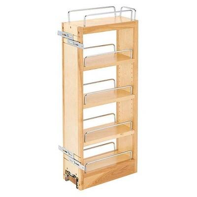 Rev-A-Shelf 448-WC-5C 5-Inch Wood Pull Out Wall Storage Cabinet Organizer, Maple