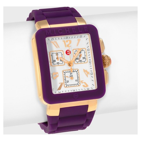 Women's Michele MWW06L000020 Park Jelly Bean Goldplated Rectangle Chronograph Dial Strap Watch - Purple - image 1 of 4