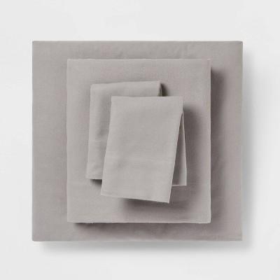 California King Fall Solid Flannel Sheet Set Gray - Threshold™