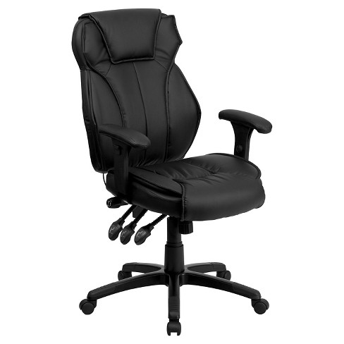 Executive Lumbar Support Swivel Office Chair Black Leather Flash Furniture