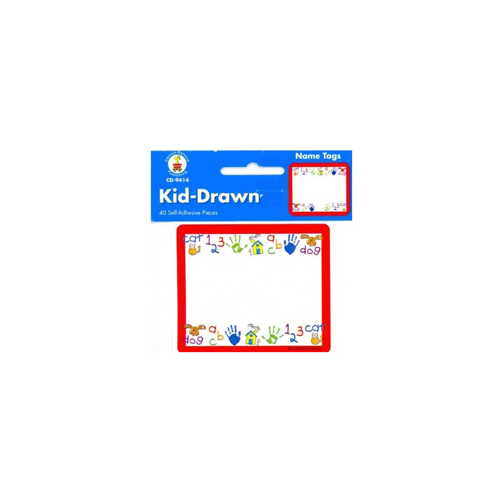 Kid-Drawn Name Tags (Paperback) These convenient, self-adhesive name tags are ideal for labeling, reminders, calendar and homework notes, and more! Each pack features 40 name tags, measuring 3 x 2.5?. Available in a variety of prints, name tags are fun addition to any classroom!
