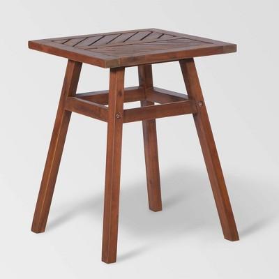 Patio Wood Side Table - Dark Brown - Saracina Home