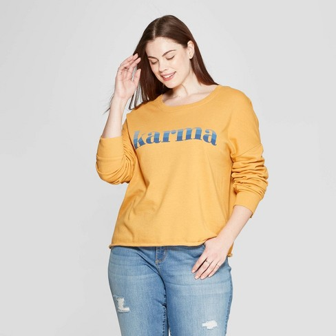 Women's Plus Size Crewneck Karma Graphic Sweatshirt - Zoe+Liv (Juniors') - Yellow - image 1 of 2
